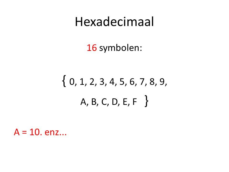 Hexadecimaal 16 symbolen: { 0, 1, 2, 3, 4, 5, 6, 7, 8, 9, A, B, C, D, E, F } A = 10. enz...