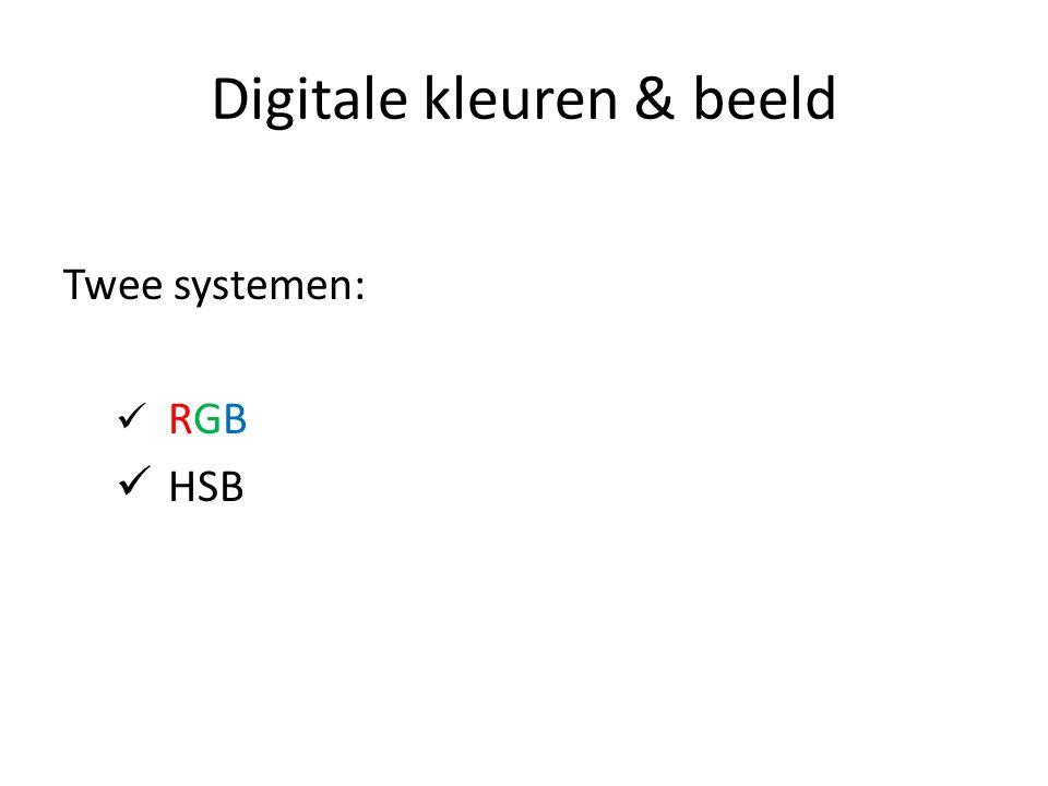 Digitale kleuren & beeld Twee systemen: RGB HSB