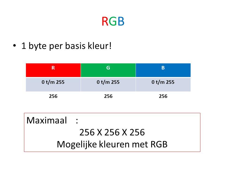 RGBRGB 1 byte per basis kleur.
