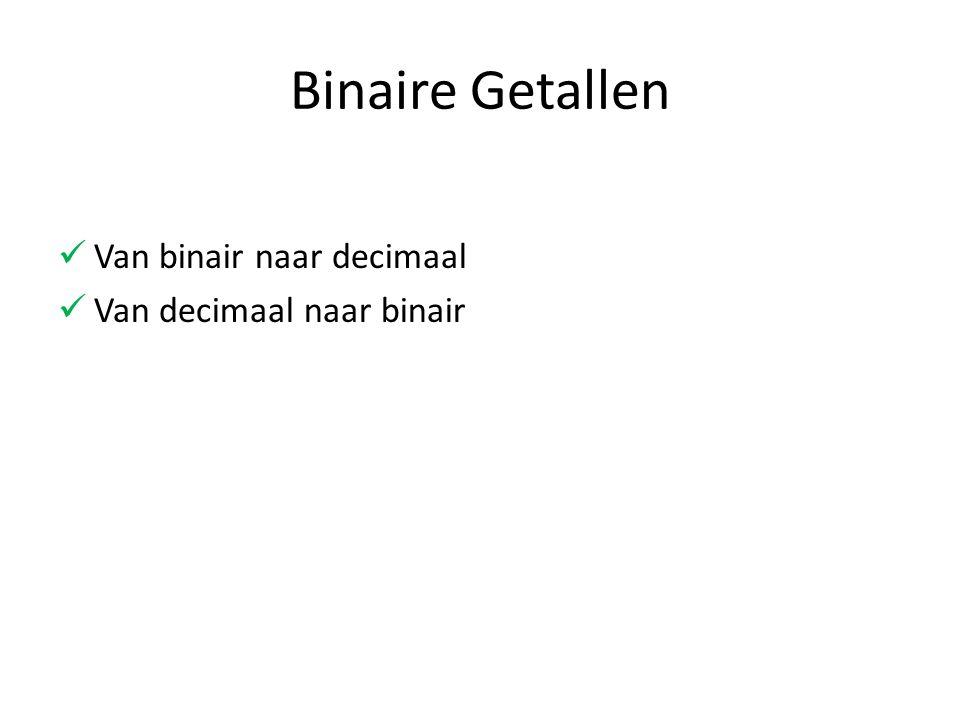 Binaire Getallen Van binair naar decimaal Van decimaal naar binair