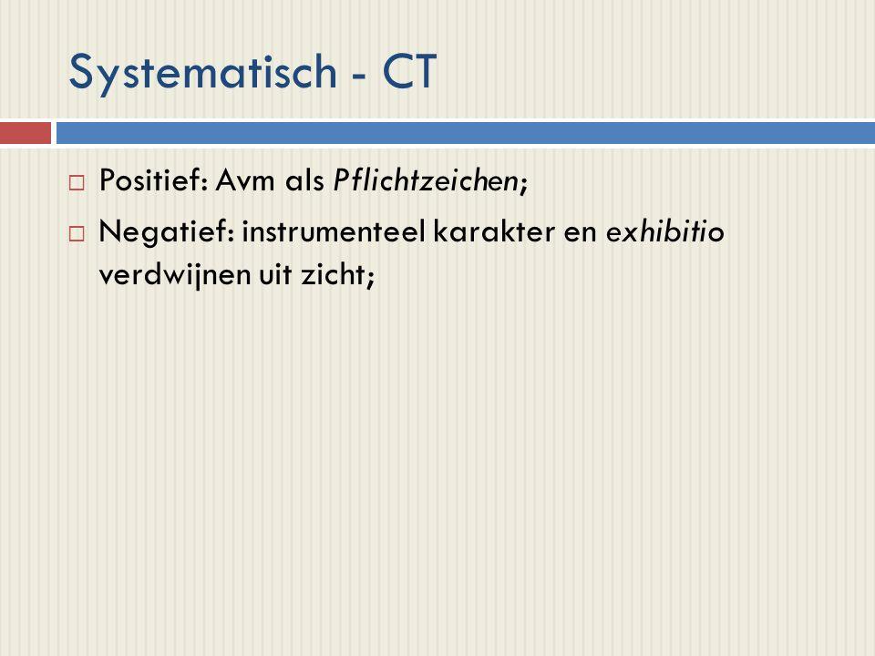 Systematisch - CT  Positief: Avm als Pflichtzeichen;  Negatief: instrumenteel karakter en exhibitio verdwijnen uit zicht;