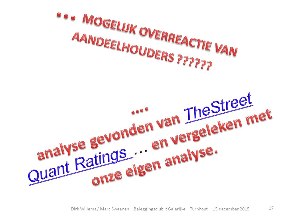 18 artikel Dirk Willems / Marc Swaenen – Beleggingsclub 't Galerijke – Turnhout – 15 december 2015 14 december 2015, Qorvo : -6.62 % Qorvo (QRVO) Stock Plunges, Three Firms Reduce iPhone Estimates ByRachel Graf |12/14/15 - 03:59 PM ESTRachel Graf Get TheStreet Quant Ratings exclusive 5-page report for (QRVO) - FREE.