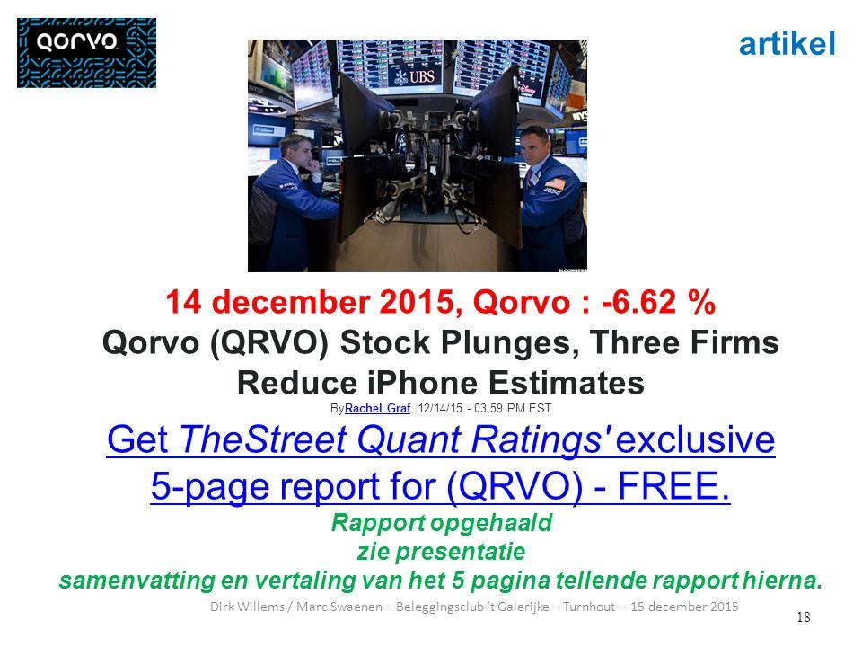 18 artikel Dirk Willems / Marc Swaenen – Beleggingsclub 't Galerijke – Turnhout – 15 december 2015 14 december 2015, Qorvo : -6.62 % Qorvo (QRVO) Stoc