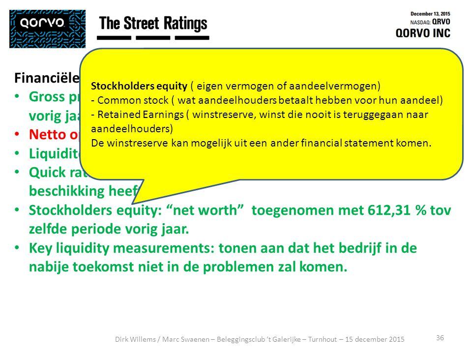 36 Dirk Willems / Marc Swaenen – Beleggingsclub 't Galerijke – Turnhout – 15 december 2015 Financiële analyse: Gross profit marge: aanzienlijke toename tov.