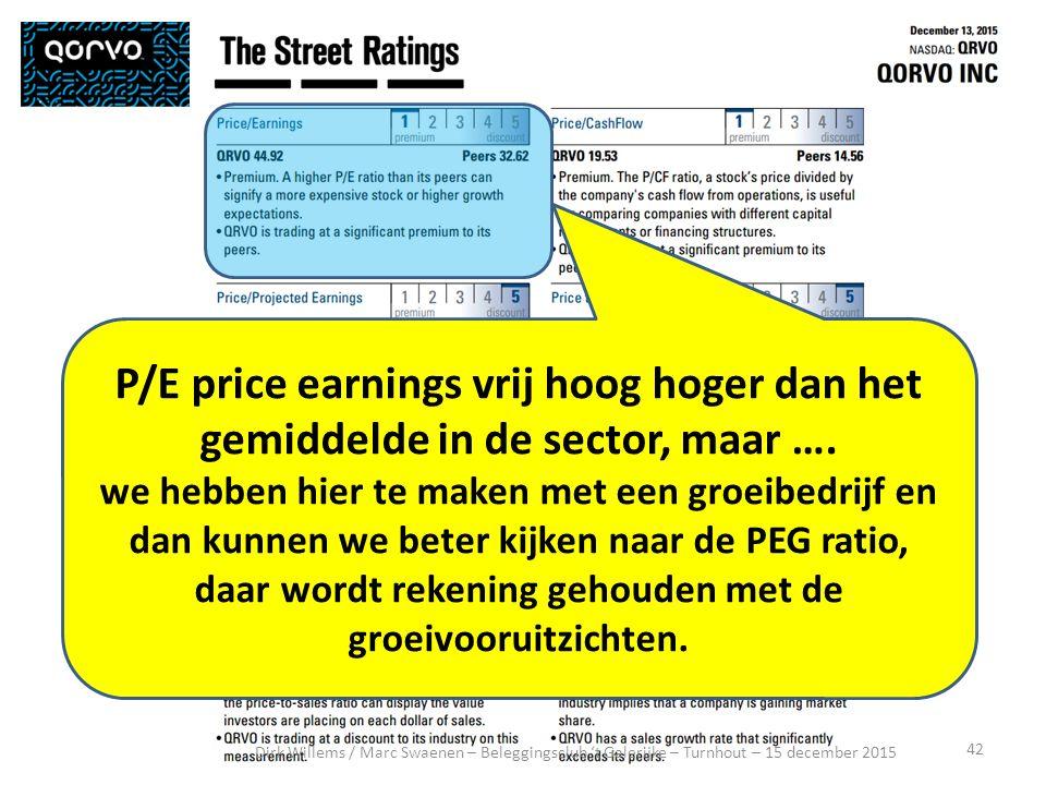 42 Dirk Willems / Marc Swaenen – Beleggingsclub 't Galerijke – Turnhout – 15 december 2015 P/E price earnings vrij hoog hoger dan het gemiddelde in de sector, maar ….