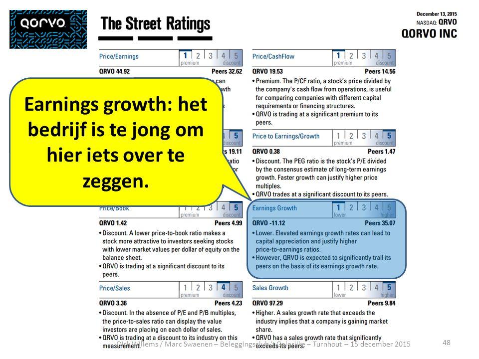 48 Dirk Willems / Marc Swaenen – Beleggingsclub 't Galerijke – Turnhout – 15 december 2015 Earnings growth: het bedrijf is te jong om hier iets over te zeggen.