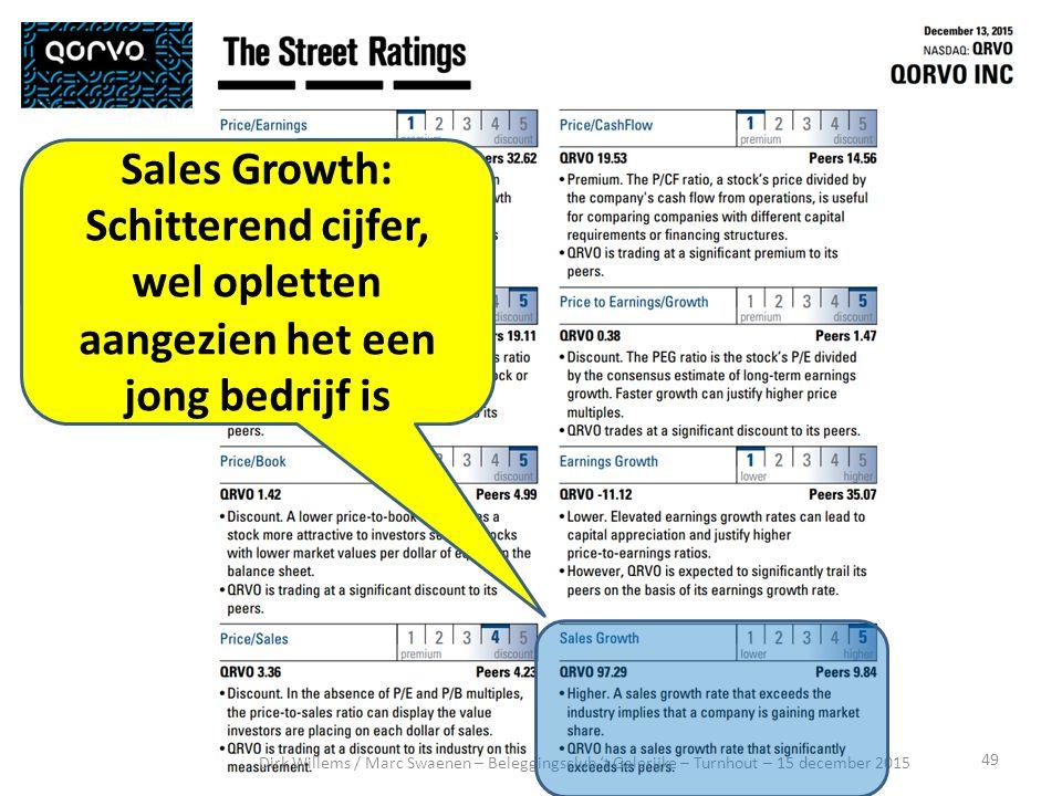 49 Dirk Willems / Marc Swaenen – Beleggingsclub 't Galerijke – Turnhout – 15 december 2015 Sales Growth: Schitterend cijfer, wel opletten aangezien het een jong bedrijf is