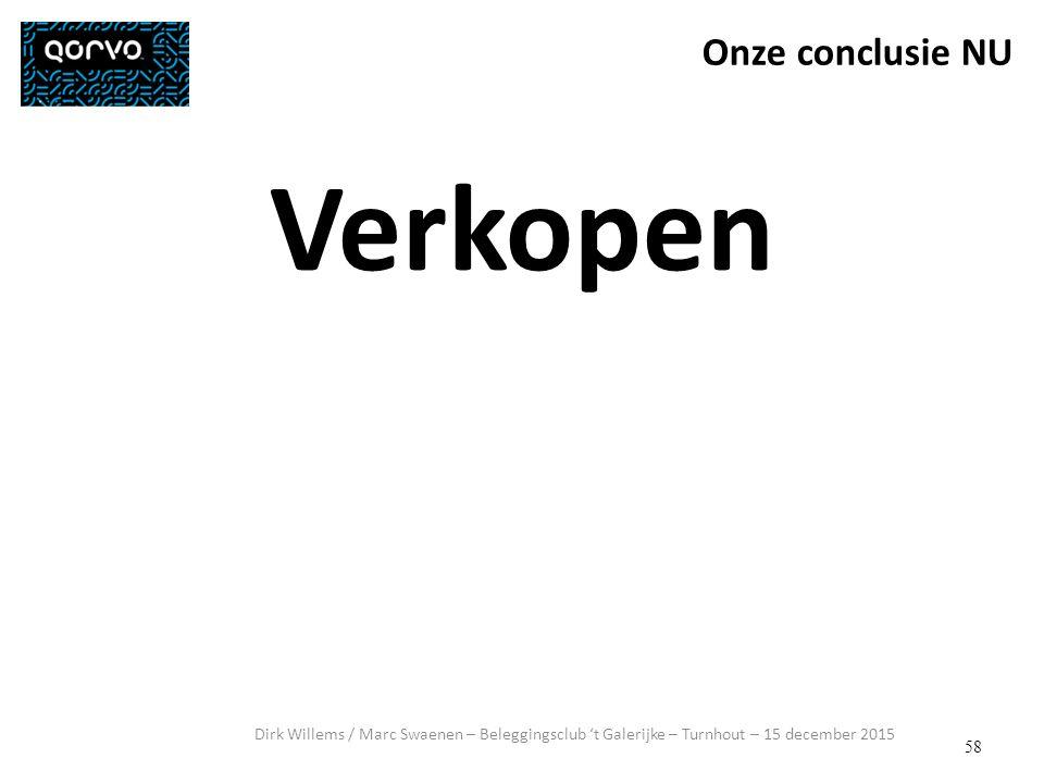 58 Dirk Willems / Marc Swaenen – Beleggingsclub 't Galerijke – Turnhout – 15 december 2015 Verkopen Onze conclusie NU
