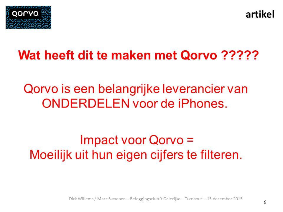 6 artikel Dirk Willems / Marc Swaenen – Beleggingsclub 't Galerijke – Turnhout – 15 december 2015 Wat heeft dit te maken met Qorvo ????.