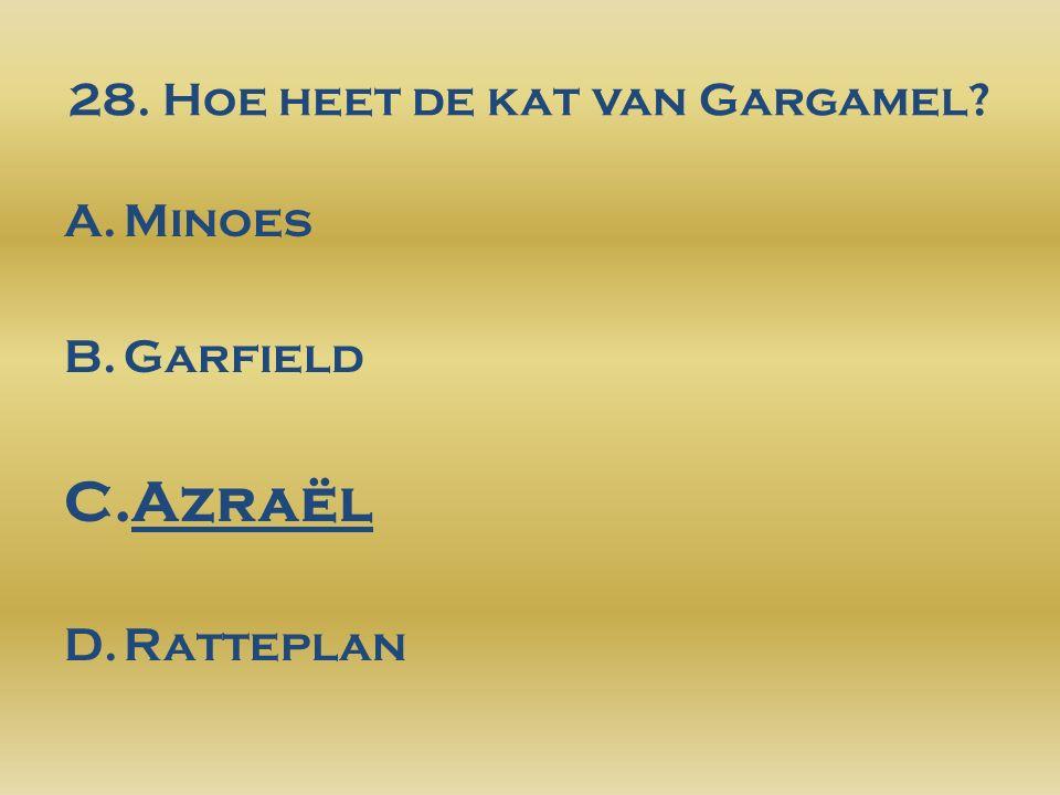 28. Hoe heet de kat van Gargamel? A.Minoes B.Garfield C.Azraël D.Ratteplan