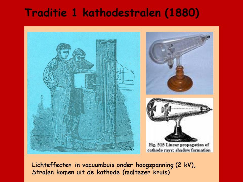Traditie 1 kathodestralen (1880) Lichteffecten in vacuumbuis onder hoogspanning (2 kV), Stralen komen uit de kathode (maltezer kruis)