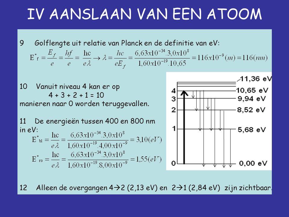 IV AANSLAAN VAN EEN ATOOM 9 Golflengte uit relatie van Planck en de definitie van eV: 10 Vanuit niveau 4 kan er op 4 + 3 + 2 + 1 = 10 manieren naar 0 worden teruggevallen.