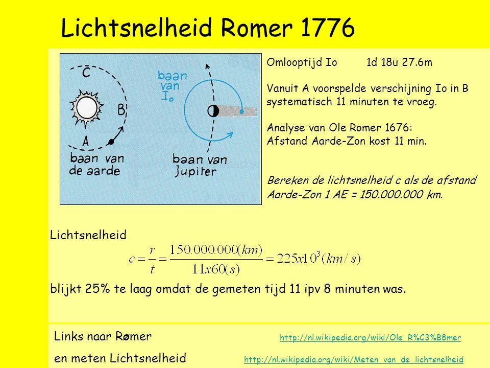 Lichtsnelheid Romer 1776 Links naar R Ø mer http://nl.wikipedia.org/wiki/Ole_R%C3%B8mer http://nl.wikipedia.org/wiki/Ole_R%C3%B8mer en meten Lichtsnelheid http://nl.wikipedia.org/wiki/Meten_van_de_lichtsnelheid http://nl.wikipedia.org/wiki/Meten_van_de_lichtsnelheid Omlooptijd Io 1d 18u 27.6m Vanuit A voorspelde verschijning Io in B systematisch 11 minuten te vroeg.