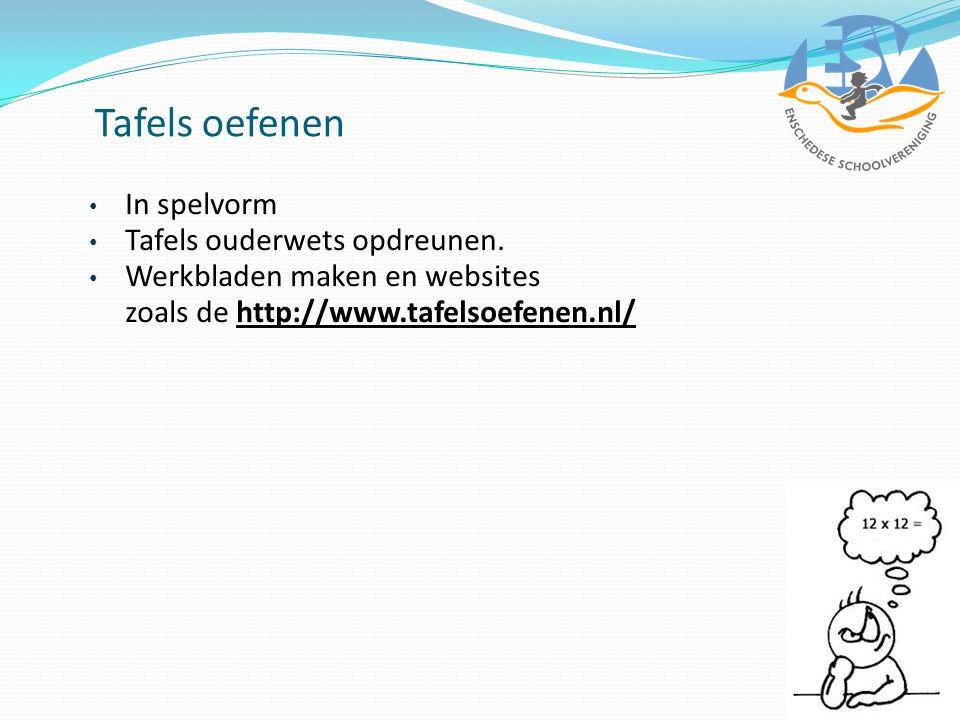 Tafels oefenen In spelvorm Tafels ouderwets opdreunen. Werkbladen maken en websites zoals de http://www.tafelsoefenen.nl/