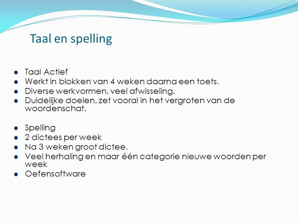 Taal en spelling Taal Actief Werkt in blokken van 4 weken daarna een toets.