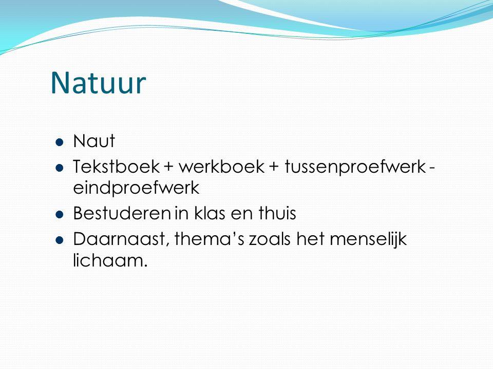 Natuur Naut Tekstboek + werkboek + tussenproefwerk - eindproefwerk Bestuderen in klas en thuis Daarnaast, thema's zoals het menselijk lichaam.