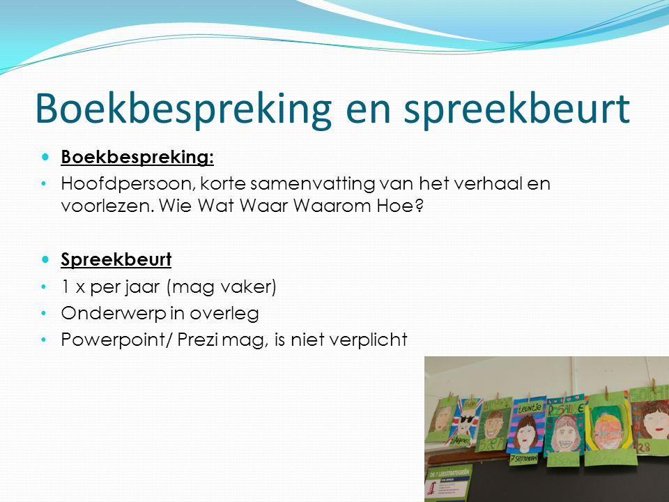 Boekbespreking en spreekbeurt Boekbespreking: Hoofdpersoon, korte samenvatting van het verhaal en voorlezen.