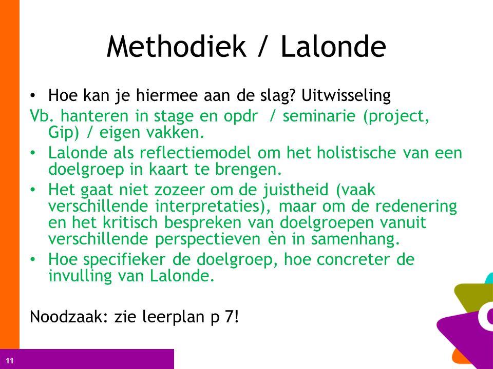 11 Methodiek / Lalonde Hoe kan je hiermee aan de slag.