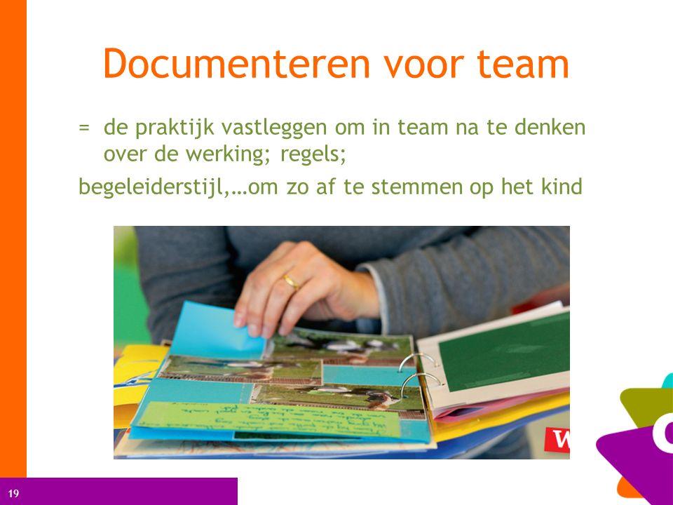 19 = de praktijk vastleggen om in team na te denken over de werking; regels; begeleiderstijl,…om zo af te stemmen op het kind Documenteren voor team