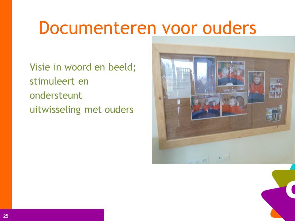 25 Visie in woord en beeld; stimuleert en ondersteunt uitwisseling met ouders Documenteren voor ouders