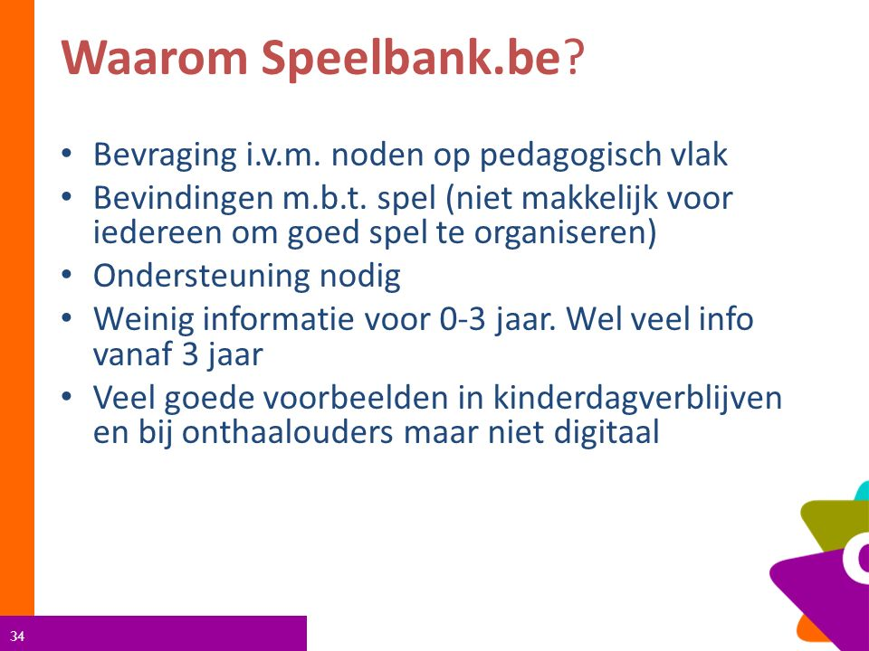 34 Waarom Speelbank.be. Bevraging i.v.m. noden op pedagogisch vlak Bevindingen m.b.t.