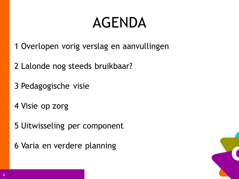 4 AGENDA 1 Overlopen vorig verslag en aanvullingen 2 Lalonde nog steeds bruikbaar.
