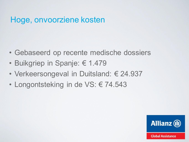 Hoge, onvoorziene kosten Gebaseerd op recente medische dossiers Buikgriep in Spanje: € 1.479 Verkeersongeval in Duitsland: € 24.937 Longontsteking in