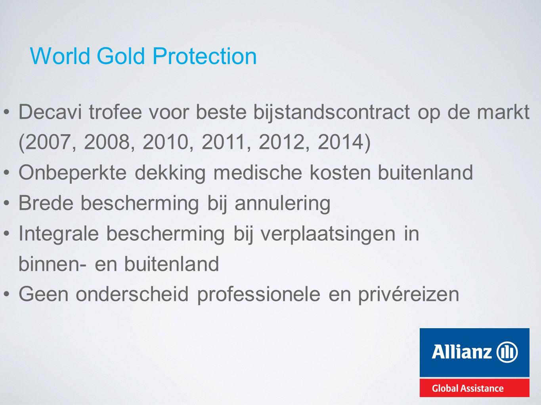 World Gold Protection Decavi trofee voor beste bijstandscontract op de markt (2007, 2008, 2010, 2011, 2012, 2014) Onbeperkte dekking medische kosten b