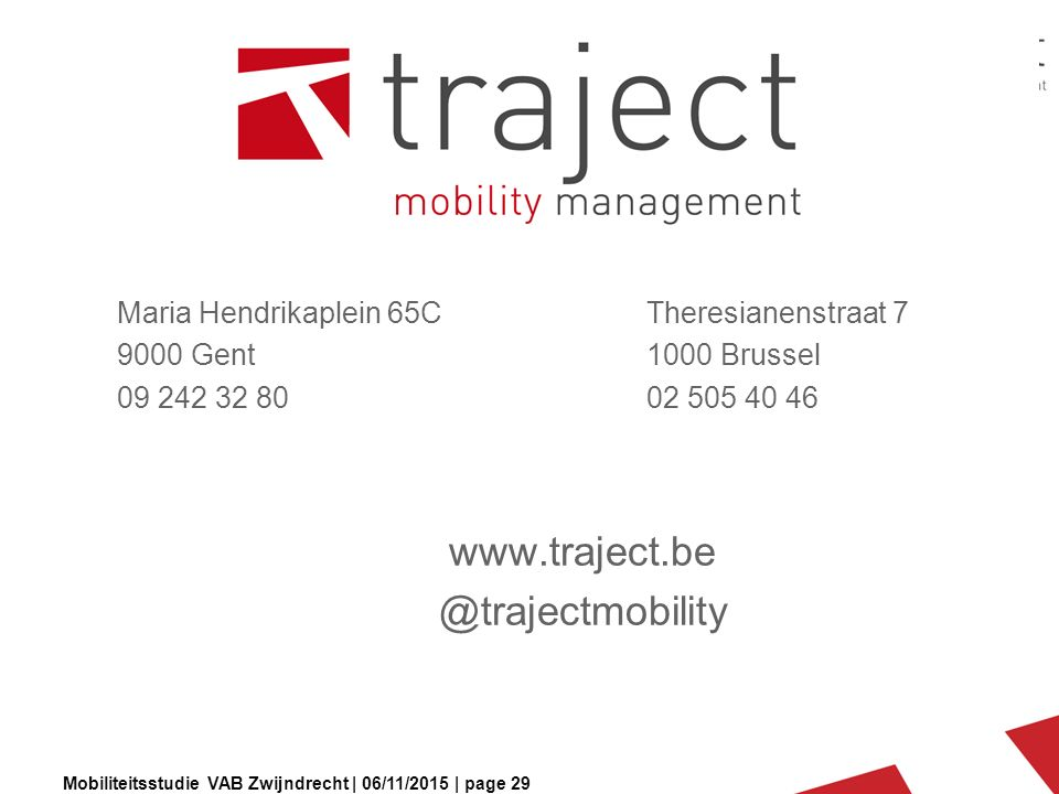 Mobiliteitsstudie VAB Zwijndrecht | 06/11/2015 | page 29 Maria Hendrikaplein 65CTheresianenstraat 7 9000 Gent1000 Brussel 09 242 32 8002 505 40 46 www.traject.be @trajectmobility