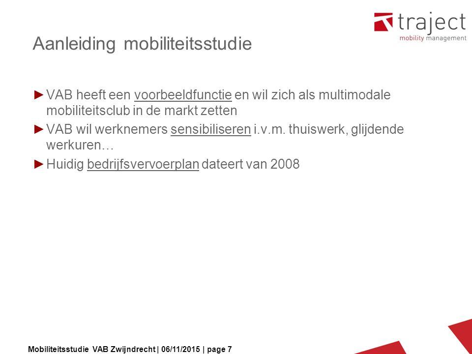 Mobiliteitsstudie VAB Zwijndrecht | 06/11/2015 | page 7 Aanleiding mobiliteitsstudie ►VAB heeft een voorbeeldfunctie en wil zich als multimodale mobiliteitsclub in de markt zetten ►VAB wil werknemers sensibiliseren i.v.m.