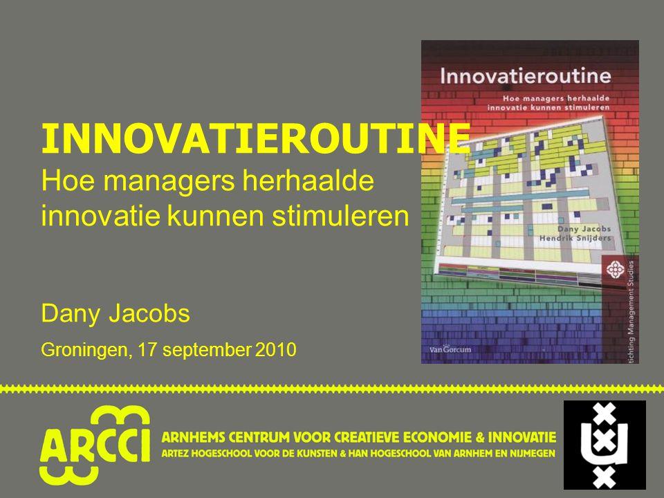 INNOVATIEROUTINE Hoe managers herhaalde innovatie kunnen stimuleren Dany Jacobs Groningen, 17 september 2010