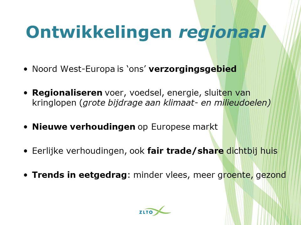 Ontwikkelingen regionaal Noord West-Europa is 'ons' verzorgingsgebied Regionaliseren voer, voedsel, energie, sluiten van kringlopen (grote bijdrage aan klimaat- en milieudoelen) Nieuwe verhoudingen op Europese markt Eerlijke verhoudingen, ook fair trade/share dichtbij huis Trends in eetgedrag: minder vlees, meer groente, gezond