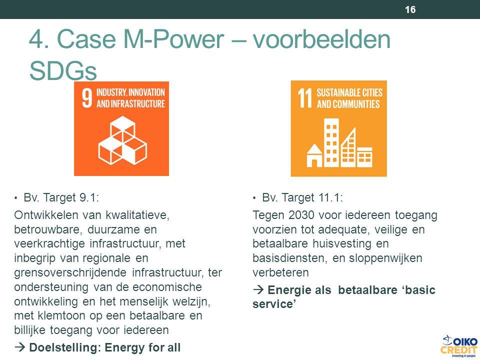 4. Case M-Power – voorbeelden SDGs 16 Bv.