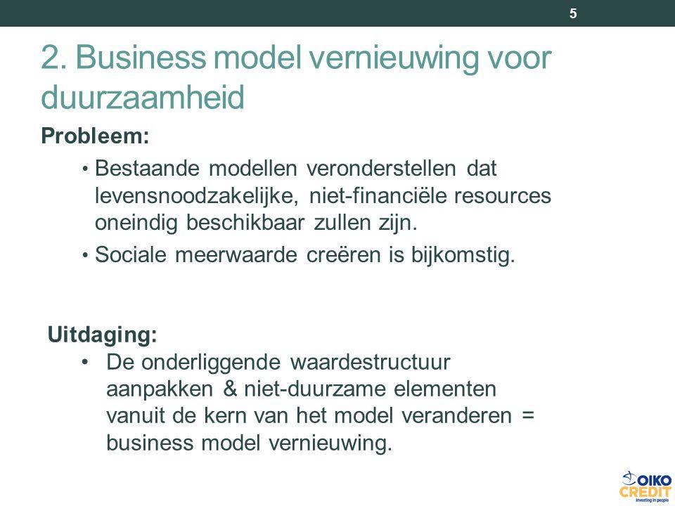 2. Business model vernieuwing voor duurzaamheid 5 Probleem: Bestaande modellen veronderstellen dat levensnoodzakelijke, niet-financiële resources onei