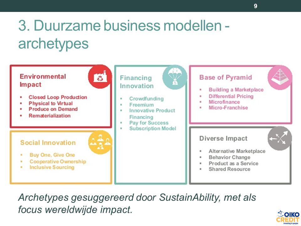 3. Duurzame business modellen - archetypes 9 Archetypes gesuggereerd door SustainAbility, met als focus wereldwijde impact.