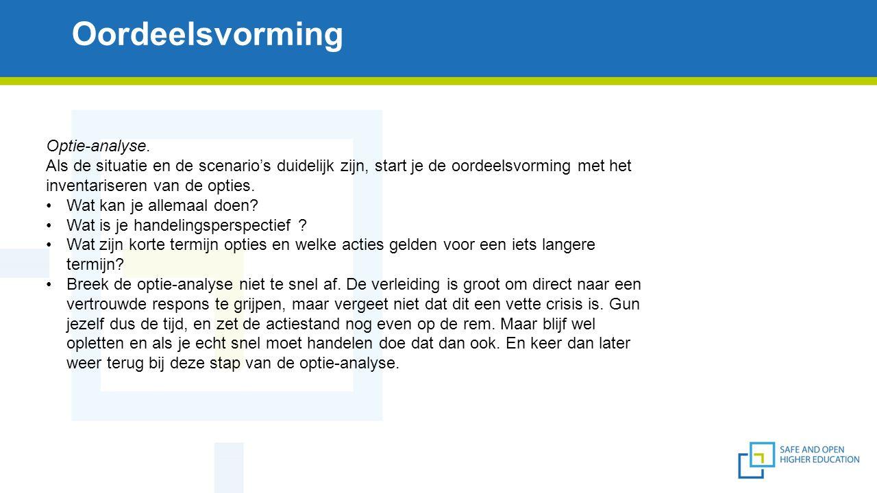 Oordeelsvorming Optie-analyse.