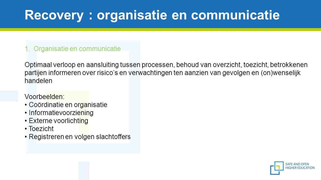 Recovery : organisatie en communicatie 1.Organisatie en communicatie Optimaal verloop en aansluiting tussen processen, behoud van overzicht, toezicht, betrokkenen partijen informeren over risico's en verwachtingen ten aanzien van gevolgen en (on)wenselijk handelen Voorbeelden: Coördinatie en organisatie Informatievoorziening Externe voorlichting Toezicht Registreren en volgen slachtoffers