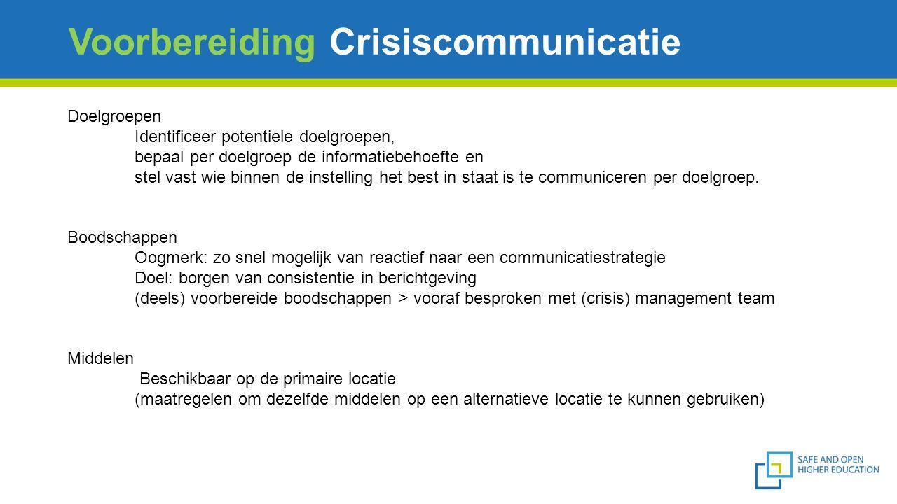 Voorbereiding Crisiscommunicatie Doelgroepen Identificeer potentiele doelgroepen, bepaal per doelgroep de informatiebehoefte en stel vast wie binnen de instelling het best in staat is te communiceren per doelgroep.