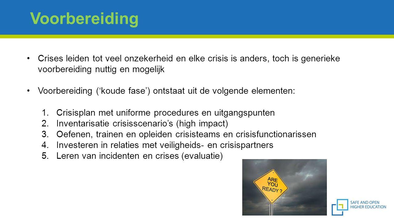 Voorbereiding Crises leiden tot veel onzekerheid en elke crisis is anders, toch is generieke voorbereiding nuttig en mogelijk Voorbereiding ('koude fa