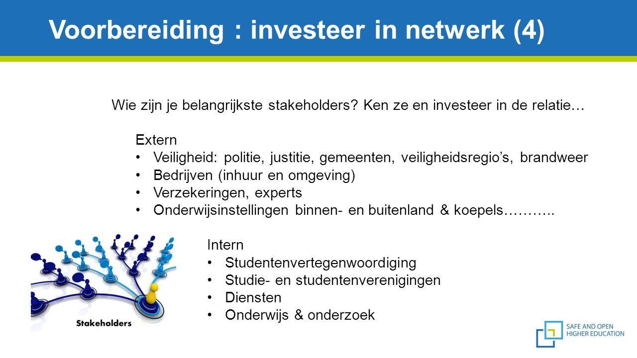 Voorbereiding : investeer in netwerk (4) Wie zijn je belangrijkste stakeholders? Ken ze en investeer in de relatie… Extern Veiligheid: politie, justit