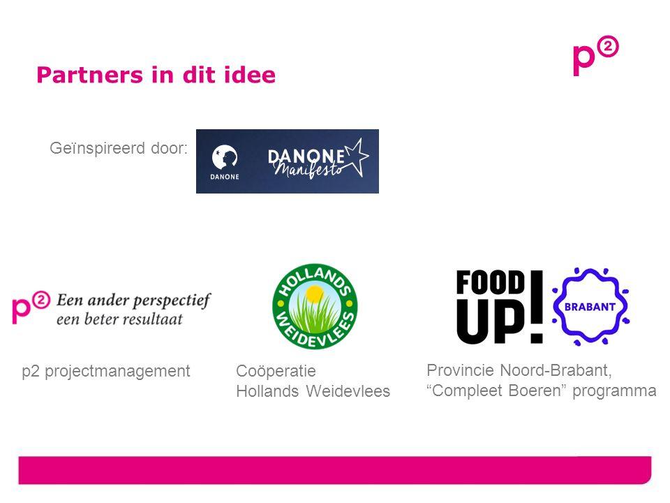 Partners in dit idee Provincie Noord-Brabant, Compleet Boeren programma Coöperatie Hollands Weidevlees p2 projectmanagement Geïnspireerd door: