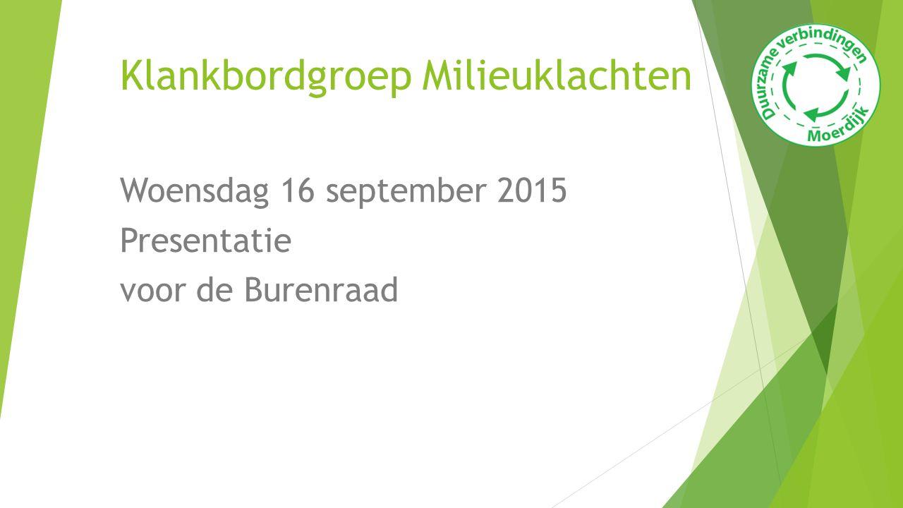 Klankbordgroep Milieuklachten Woensdag 16 september 2015 Presentatie voor de Burenraad