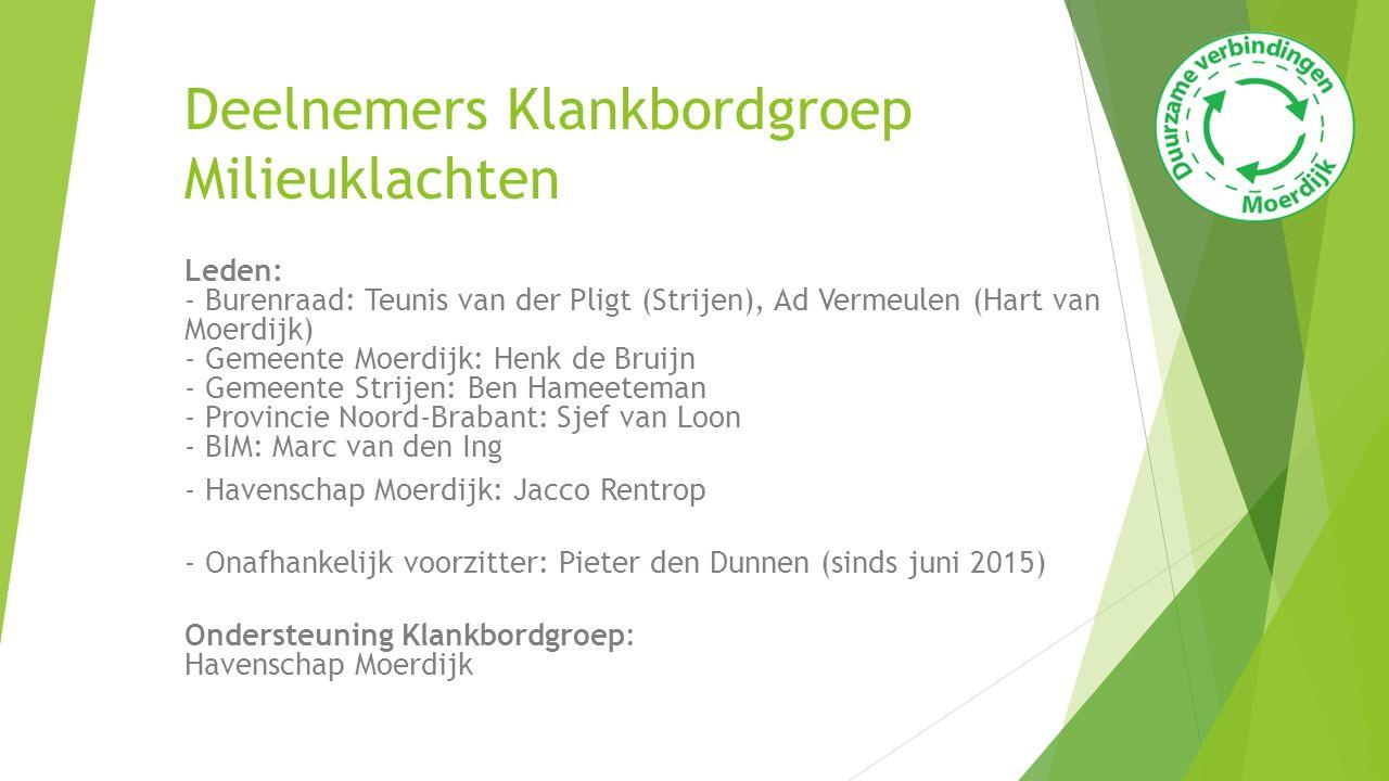 Deelnemers Klankbordgroep Milieuklachten Leden: - Burenraad: Teunis van der Pligt (Strijen), Ad Vermeulen (Hart van Moerdijk) - Gemeente Moerdijk: Hen