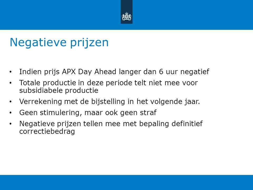 Negatieve prijzen Indien prijs APX Day Ahead langer dan 6 uur negatief Totale productie in deze periode telt niet mee voor subsidiabele productie Verrekening met de bijstelling in het volgende jaar.