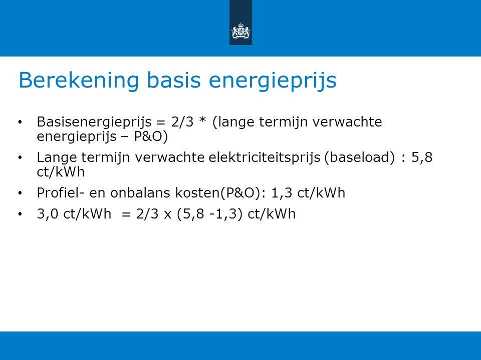 Berekening basis energieprijs Basisenergieprijs = 2/3 * (lange termijn verwachte energieprijs – P&O) Lange termijn verwachte elektriciteitsprijs (baseload) : 5,8 ct/kWh Profiel- en onbalans kosten(P&O): 1,3 ct/kWh 3,0 ct/kWh = 2/3 x (5,8 -1,3) ct/kWh