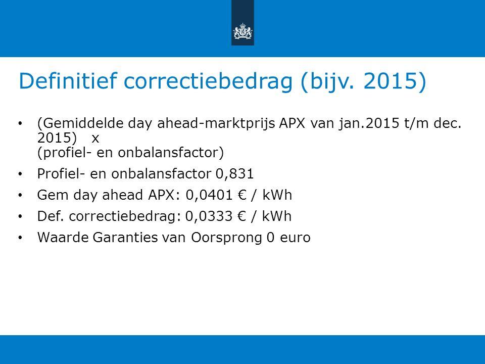 Definitief correctiebedrag (bijv. 2015) (Gemiddelde day ahead-marktprijs APX van jan.2015 t/m dec.