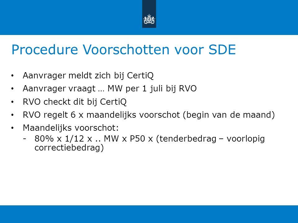 Procedure Voorschotten voor SDE Aanvrager meldt zich bij CertiQ Aanvrager vraagt … MW per 1 juli bij RVO RVO checkt dit bij CertiQ RVO regelt 6 x maandelijks voorschot (begin van de maand) Maandelijks voorschot: -80% x 1/12 x..