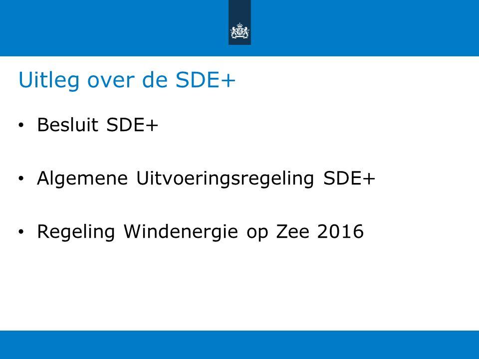 Uitleg over de SDE+ Besluit SDE+ Algemene Uitvoeringsregeling SDE+ Regeling Windenergie op Zee 2016