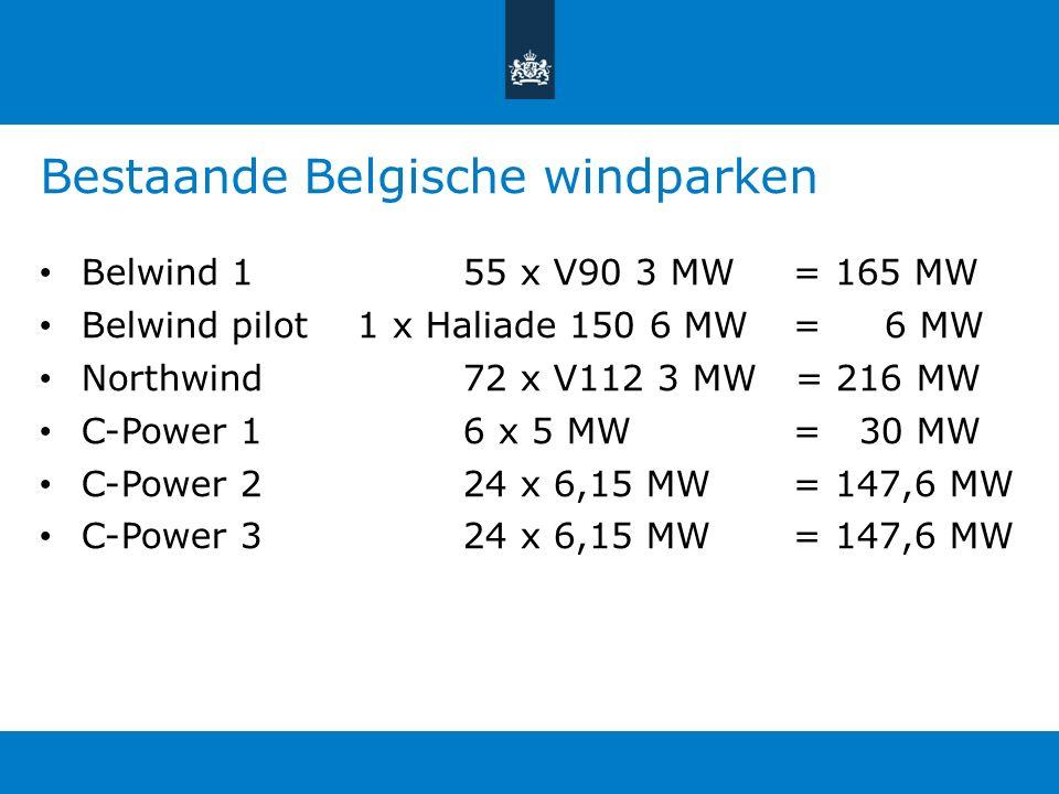 Bestaande Belgische windparken Belwind 155 x V90 3 MW = 165 MW Belwind pilot1 x Haliade 150 6 MW = 6 MW Northwind72 x V112 3 MW = 216 MW C-Power 16 x 5 MW = 30 MW C-Power 224 x 6,15 MW = 147,6 MW C-Power 324 x 6,15 MW = 147,6 MW
