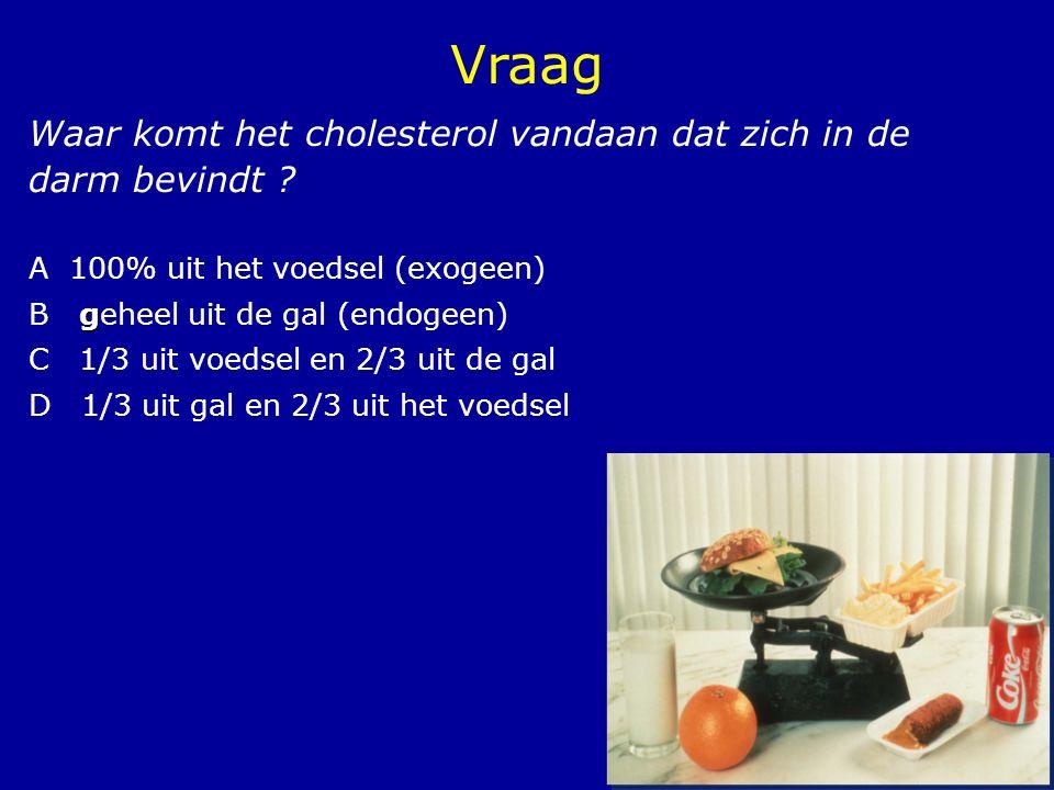 13 Waar komt het cholesterol vandaan dat zich in de darm bevindt ? A 100% uit het voedsel (exogeen) g B geheel uit de gal (endogeen) C 1/3 uit voedsel